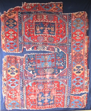"""East Anatolian Fragmented Rug, red weft, fine weave, exceptionally saturated color including aubergine, and a brilliant red. Not your usual """"yoruk""""."""