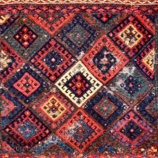 """colorful fluffy Jaf Kurd bagface. borders cut top and bottom. Nice thing. 23""""x38"""" /"""
