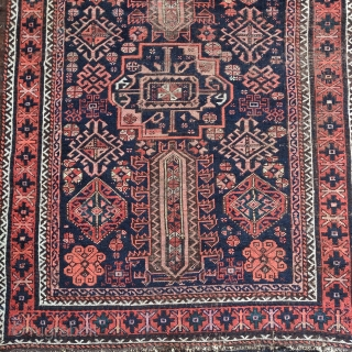 Timuri type Baluch rug with a central Turkmen gul and wonderful ornament. Yes, there is fuchsine in this one. There is also an amazing green and a rare pale yellow. Still a  ...