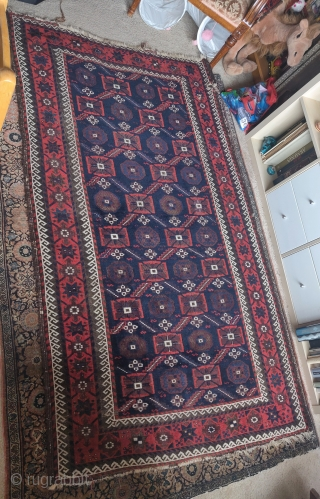 """Baluch minakhani rug, decent condition, great color, 3'9""""x6'4"""""""