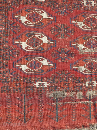 Kizyl Ayak Turkmen chuval, very old and much larger than most with a great weave, floppy handle, great spacing, and rich saturated colors. a portion of the grey flatwoven back is still  ...