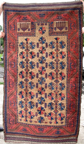 SUBLIME ANTIQUE BALUCH PRAYER RUG A+++ COLORS. A pristine example of the most desirable Mihrab Baluch.