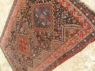 19th C. Qasqai? Large size 110 x 74 inches. Good condition. No repairs or holes or problems. even low pile.