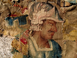 A XVIth C. Flemish or French Tapestry, likely depicting Alexander the Great. Approx 6ft by 4ft.