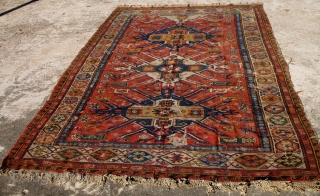 A rare early Eagle Kazak Sumak rug. Worn. 10 ft x 6.6 ft.