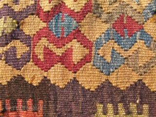 Anatolian prayer kilim - eyes looking throughout. 51 x 41 inches.