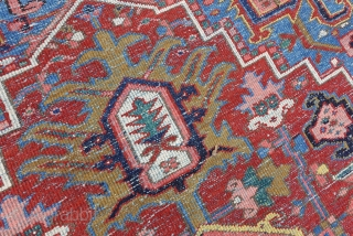 Antque Heriz  6.4 x 9.3  softest wool quality, wonderful organic colors, rare rug size, nice finest  tribal weave, rare border and field color and design combination, lovely large Serapi border, areas  ...