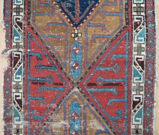 This piece has a predecessor.In Hali 166, p.49, #27 you find a Centralanatolian runner from the 17th century which shows this design, although this is clearly an early (maybe 1800) Shahsavan rug.