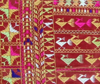 """Phulkari from the Punjab 130x240cm Embroidered with floss-silk on handwoven cotton (halwan) Around 1920 Perfect condition A classical Phulkari, type """"mor"""" (peacock) from the eastern part of the Punjab These Phulkaris were used as head- and shouldercovers, as  ..."""