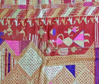 Phulkari from the Punjab 130x205cm Embroidered with floss-silk on handwoven cotton (halwan) Around 1900-1920 Perfect condition A classical Darshan Dwar Phulkari from the eastern part of the Punjab These Phulkaris were used as head- and shouldercovers, as gifts  ...