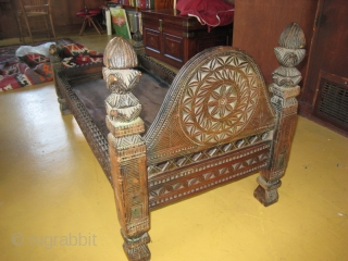 Prayer platform from Swat Kohistan, Pakistan.  Hand carved walnut.  50 inches long, 24 inches wide, 24 inches high at the head.  The flat bed is a single piece of  ...