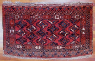 """Ersari Turkmen chuval with staggered chuval guls, no secondaries.  Late 19th C.  Generous size--35"""" x 58"""" (98cm x 147cm).  Good condition.  Good pile all over.   All  ..."""
