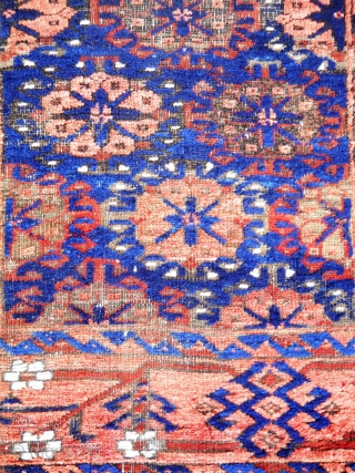 Baluch - 4.11 x 2.10, beautifully executed main border, nice use of ivory highlights in field and and border, kilim ends, oxidation, wear, some moth damage.