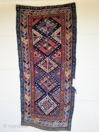 """About 7'4"""" x 3'6"""".  Beautiful color, crisp drawing and nice weave.  Even wear with some scattered crude old repairs and about 1"""" x 4"""" gouge in secondary border.    ..."""