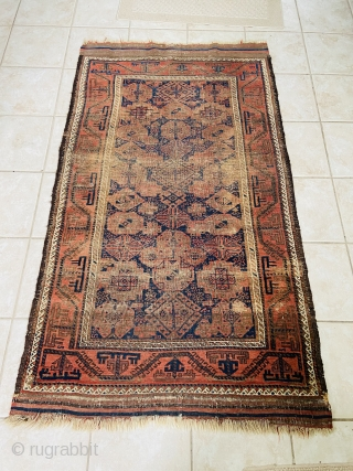 "Baluch - about 3.3 x 5.8 inc Kilim ends.  As found with oxidation and wear.  Nicely executed turkman ""boat"" border."