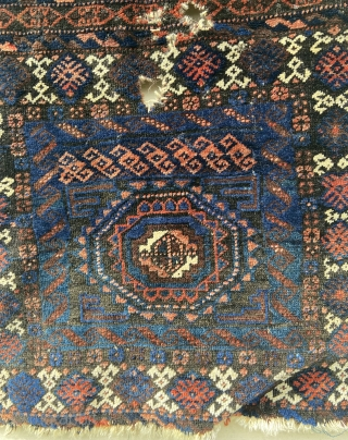 """Baluch - about 17"""" x 31"""".  Cool format, shiny wool.  As found condition."""