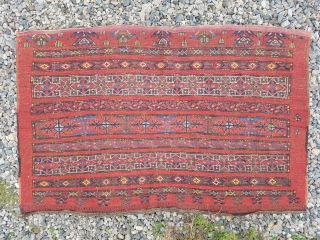 Ersari trapping - nice wool and design.  Couple small darned areas otherwise even wear with mostly good pile.