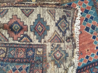 Early Kazak - about 4.1 x 4.8 with holes, old crude repairs and added fringe. Still beautiful example.