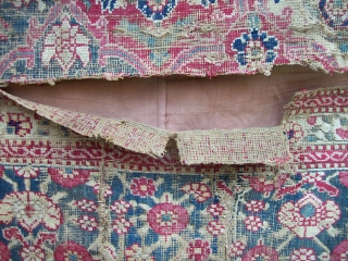 fragment -  approx 3.6 x 6 - at least 3 pieces stitched together and lined. LOTS of damage - dry silk, unsecured areas, holes, tears but still pleasing.