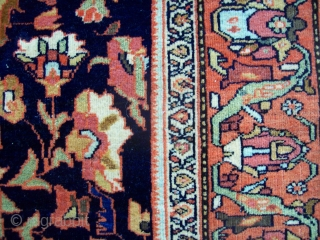 Ferahan Sarouk - 4.4 x 6.6, beautiful design, color and weave. Supple handle, nice wool quality.  Even wear with some knots showing.  Machine surging sides/ends.  Glue residue on ends.  ...