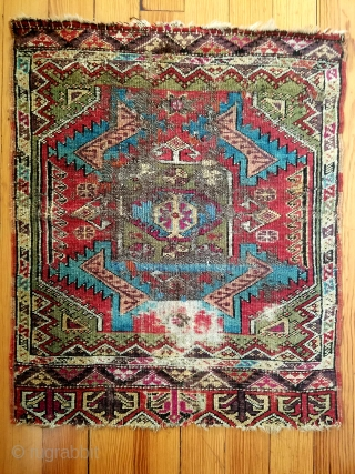 """Anatolian yastik - about 24"""" x 29"""".  Wonderful color and squarish size.  'As found' condition with few scattered old crude repairs. Nice example."""