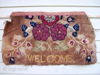 Hooked Rug - 2.11 x 1.8 nice example of american folk art.  missing upper end, side gouge, soiled areas. needs thorough cleaning.