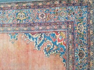 Mahal - about 9 x 11.9. as found.  all original.  Wear throughout, glue residue on back 