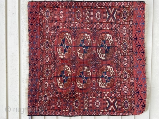 "'Wedding' rug about 37"" x 38"". Exquisite color, stiff handle, uncommon six gul and interesting skirts.  Sides not original, ends overcast, evenly low."