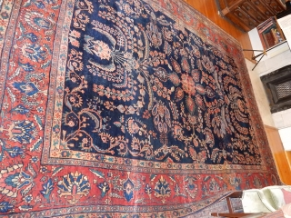 FULL PILE BLUE SAROUK - CIRCA 1915- SIZE OF 8 1/2 X 11 1/2 FT  - NO CONDITION ISSUES- A WONDERFUL  CARPET