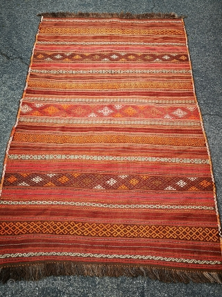 """Taimani Aimaq Kilim Rug  – 68 x 118 inches  Excellent condition heavy kilim woven with a combination of weft-faces and flat weave techniques in Afghanistan pre-1960.  In his book """"Kilim, Alastair Hull shows  ..."""