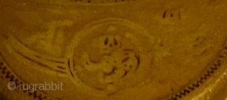 Unusually large old Shia praying tablet (TURBA)featuring the sword of Imam Ali, Zulfiqar. 14 x 9 x 1 cms.