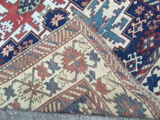 19thc Lesghi Star Rug Excellent condition for Age wonderful natural colours.