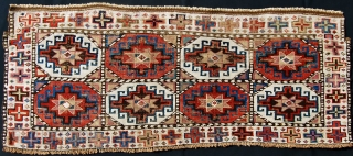 Sumack Shahsavan Mogan mafrash side panel. Cm 42x96 ca. Rare. 3rd/4th quarter 19th century. Really beautiful with incredible natural dyes and a lovely Memling gul pattern. White is cotton. Similar piece can  ...