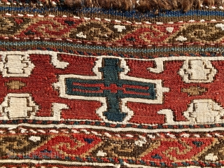 Shahsavan Moghan sumack mafrash long panel. Cm 53x102. Lovely, antique sumack panel easily attributed to the Shahsavan tribes of the Moghan plaines. Second half 19th century. Wool & cotton, extra weft wrapping.  ...