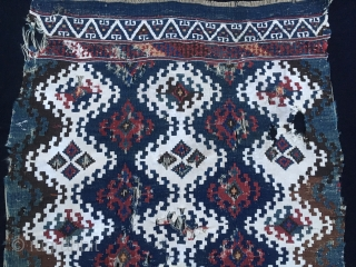 East Anatolian Sinanli heybe bag face. Cm 70x75. Rare and beautiful. Can you see the holes, the tears?.....I don't...I can see a wonderful pattern, a fantastic size and color balance, some awesome  ...