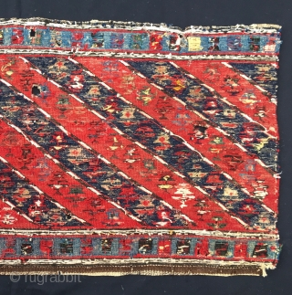 Mogan Shahsavan sumakh mafrash side panel. This flower diagonal striped pattern is rare. I think that it has been woven by the Shahsavan tribal groups on the Mogan plainS, Azerbaijan, but am  ...