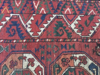 1850sh Turkmen Beshir rug fragment. Cm 67/76x177. Third quarter 19th century if not earlier. Great deep, natural, saturated colors. Madder red, green, yellow, indigo & petrol blue, white (wool).... Lovely pattern, great  ...