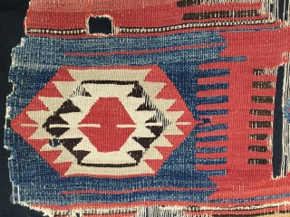 Balikesir kilim fragment. Western Anatolia. Cm 129x173.  End 19th c. Professionally mounted. Great & rare pattern. Lovely colors. A very similar piece appeared on the front cover of the Eskenazi catalogue  ...