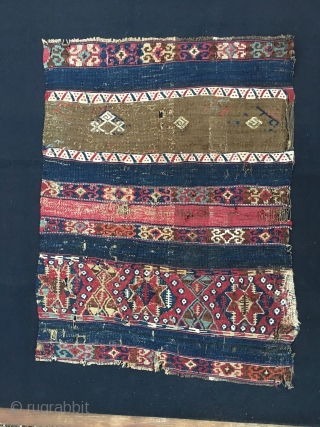 Reshwani/Sinanli kilim fragment. Cm 70x90. Datable 1840/1860. Amazing textile with lots of cochineal, indigo and metal thread. Worn, torn, battered, but still glowing with lots of character, aura, power. Great colors.