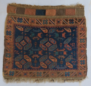 Baluch bagface. 60 x 57 cm.  Great colors, including green blue so difficult to photograph. Good condition with uniformly low pile. Bought at Adraskand 25 years ago.