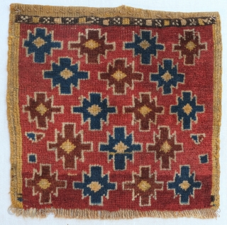 Pile bagface, probably Kurdish. Great colors Size: 47 x 47 cm Knots: Symmetrical Condition: Excellent, long silky pile