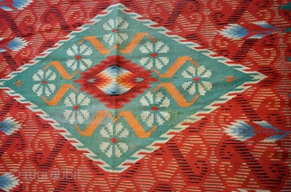 """Unusual, antique Saltillo Serape. 3-7""""  x 8-3"""". Circa 1875- 1900 (minor moth damage, some older conservation in the field and minor damage to one end finish)"""
