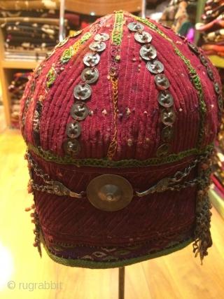 Turkmen silver ornate hat.19 th.century