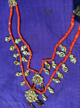 19th.century Uzbek Buhara silver and coral neckless.