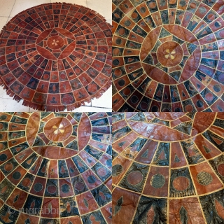 North African leather(snake and goat)roundel,size 135 x 135 cm