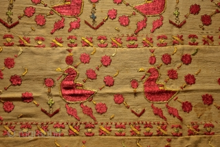 very old North indian embroidery,made silk on linen.size 74 x 96 cm.