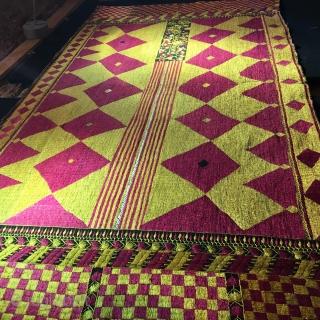 Phulkari,silk on linen .size 124x236 cm.mid.20 th. Century