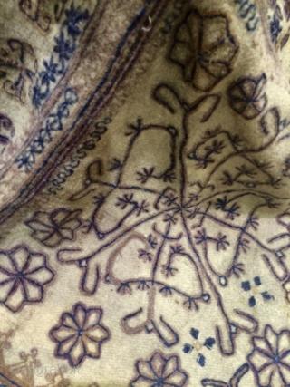 Unusual, wool on wool embroidery helmet hat,Pamir or Chitral valley.