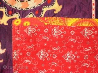Lakai Suzani, silk on silk embroidery,late 19th.century,size 110 X 140 cm