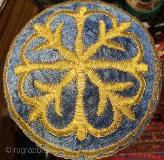 Uzbek Bukhara golded metal threat on velvet, teenager hat ,size 15 cm